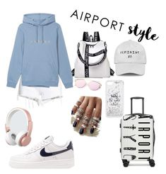 """Airport Style 2"" by sahinalara on Polyvore featuring Hudson Jeans, NIKE, Urbanista, CalPak and Kate Spade"