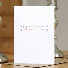 'wonderful hubby' christmas card by slice of pie designs | notonthehighstreet.com