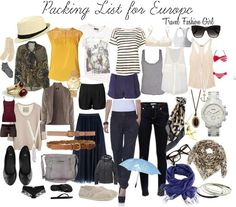 Clothes for a trip to europe in the summer.