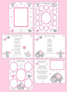 Baby Girl Elephant Memory Book Premade Scrapbook Pages Nursery Wall Art Prints #decampstudios