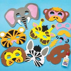 Maak en ontwerp je eigen tropische jungle dieren maskers van foam - creatieve themafeest/theater knutselpakket voor kinderen om in te kleuren en versieren (6 stuks)