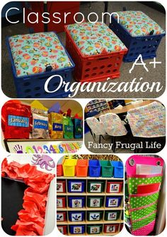 Classroom Organization Ideas, chair covers, toy bins, crate stools.  I am SO going to make those crate stools for our RV! @Heather Villela