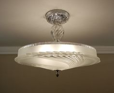 "Vintage 1940's Ultra Art Deco SWIRL Glass & Chrome Ceiling Light Lamp Fixture LG 17"" Rewired"
