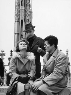 """keyframedaily:  """" Luchino Visconti, Annie Girardot and Alain Delon on the set of Rocco and His Brothers (1960).  """""""
