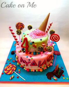 . Candy Cakes, Birthday Cake, Desserts, Food, Sweet Cakes, Tailgate Desserts, Birthday Cakes, Meal, Dessert