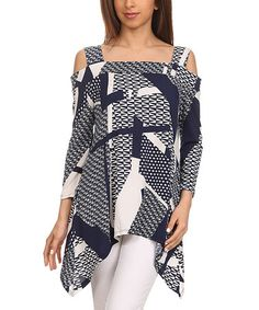 Another great find on #zulily! Navy & White Geometric Cutout Sidetail Tunic - Women & Plus #zulilyfinds