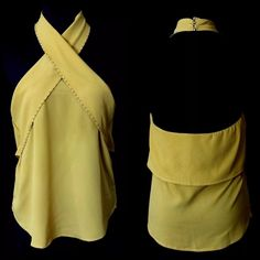 """D12 Mustard Marigold Yellow Cross Front Halter Top ‼️PRICE FIRM‼️    Cross Front Halter Top  Size Large  Retail $79  SPECTACULAR TOP!! Lightweight & easy to wear. Great with jeans or dressed up. Please check my closet for many more items!  100% polyester.  There is quite a bit of stretch to this top for a perfect & comfortable fit.   Armpit to armpit 34""""-37""""  Length of garment 18"""" Top Chic Tops"""