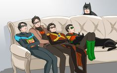 Batfamily. Batman, Nightwing, Red Hood, Red Robin, & Robin.