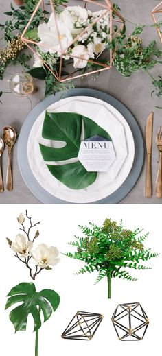 Modern Tropical Place Setting Recreate the elegant modern tropical look with faux tropical greenery and decorations from afloral.com