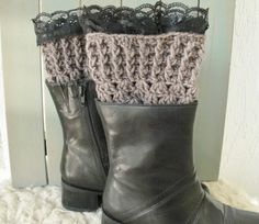 Womens Boot Cuffs with lace   Boot Socks Legwarmers  by Ebruk, $29.00