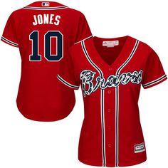 braves 10 chipper jones red alternate womens stitched mlb jersey
