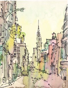 The predomant feature in this drawing are the buildings that are watercoloured with pen outlines to define the edges and shape.