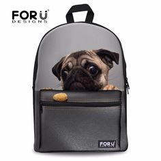 FORUDESIGNS 3D Pug Dog Aniaml School Bag For Teenager Girls Schoolbag Children Bookbag Student Schoolbag Mochila Feminina Bolsas #Affiliate