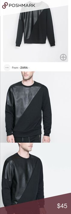 Black sweatshirt with faux leather accents