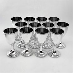SET OF 12 ANTIQUE STERLING SILVER GOBLETS / WINE GOBLETS U.S.A c. 1900 Michael Sedler Antiques London Silver Vaults Chancery Lane London, UK Antique Silver Dealer www.sedlerantiques.com #antique #antiquesilver #sedlersilver #silver #london #londonantiques #londonsilvervaults