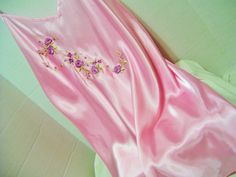 Quality Pink Satin Short Night Gown Chemise Style Adjustable spaghetti straps…
