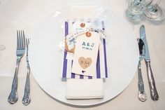 Place Setting Name Luggage Tag Stripey Bag Favours Relaxed BBQ Home Made Pretty Blue Barn Wedding http://parkershots.com/