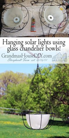 How to make DIY hanging solar light bird feeders by upcycling glass bowl light s. - How to make DIY hanging solar light bird feeders by upcycling glass bowl light shades off of a chan - Solar Light Crafts, Diy Solar, Solar Lights, Solar Spot Lights Outdoor, Outdoor Pool, Outdoor Chandelier, Glass Chandelier, Outdoor Lighting, Lighting Ideas