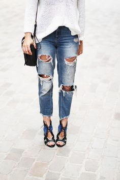 Distressed jeans and heels//