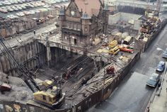 St Enoch Subway building Glasgow built 1896 on stilts as modern ticket hall is built underneath it in late Scotland History, Glasgow Scotland, Old Pictures, Old Photos, Random Pictures, Glasgow Subway, Glasgow City, Kings Park, History Of Photography