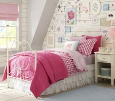 Girls Bedroom Ideas with Pink Checkered Bedding Sets