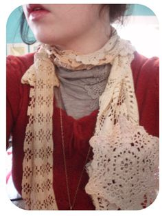 Dollar Store Crafts » Blog Archive » Make a Pretty Scarf out of Doilies