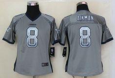 2013 NEW Women Dallas cowboys #8 Aikman Drift Fashion Grey Elite Jerseys