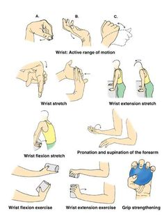 Wrist exercises---I've been going to physical therapy and it's reduced my pain and improved my range of motion. I do these stretches 2x/daily.