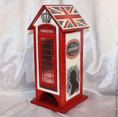 Чайный домик Лондон - ярко-красный,чайный домик,чайный домик декупаж,домик для чая