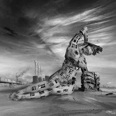 Paula Rosa's Black and White Digital Paintings of a Surreal Future | Hi-Fructose Magazine