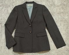 Tahari by Arthur S. Levine Blazer Jacket Womens Size 4 Gray with Blue Pinstripe