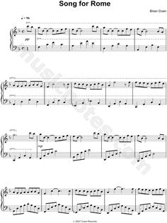 Song for Rome Piano Sheet Music by Brian Crain