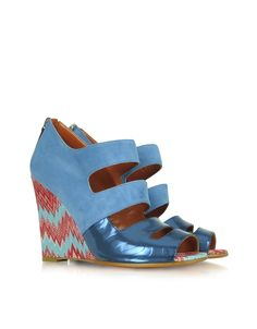 Peep Toe Suede and Leather Wedges by Missoni