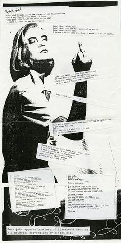 "Draft Record Liner Lyrics, Bikini Kill ""Rebel Girl,"" circa The Kathleen Hanna Papers. Riot Grrrl, Music Essay, Kathleen Hanna, Bikini Kill, Angry Girl, Girl Thinking, Post Punk, Wallpaper, Collage Art"
