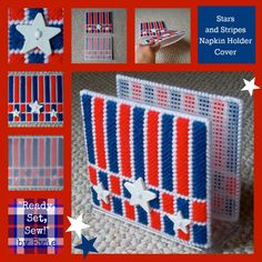 Plastic Canvas: Stars and Stripes Napkin Holder Covers -- Are you ready for the 4th? Be picnic-ready with this red, white and blue makeover for your napkins! :)