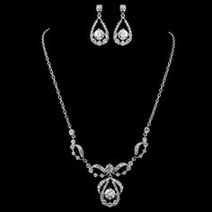 Rhodium Plated CZ Wedding and Prom Jewelry Set with Extra Long Chain - Affordable Elegance Bridal -