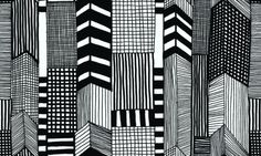 Ruutukaava (14111) - Marimekko Wallpapers - This black and white stylised city scape design , creates a stunning effect. Printed on a quality non-woven base, this pattern is also available with dashes of red and blue colour. Please order a sample for true colour match.