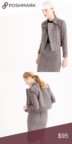 """Cropped neon tweed jacket PRODUCT DETAILS We loved this neon speckled tweed so much, we put it throughout our collection for ultimate mix-and-matchability. This feminine motorcycle-inspired jacket features a cropped, tailored fit .  True to size Poly/wool.    Standing collar. Flap double-welt pockets. Lined.          Measurement approximately laying flat underarm width 17.75"""" shoulder to hem center back length 19"""" ( not including collar).    NO flaw.     NO Trade!!!! J. Crew Jackets & Coats…"""