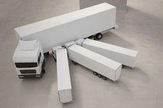 Small-scale cardboard vehicles by Daniel Hafner
