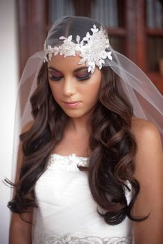 Beaded Bridal Headpiece for the Fashion-Forward Bride // The great thing about this beaded veil is that your flowers will always look fresh -- and so will you, in this trendy-meets-traditional bridal headwear. Bridal Veils And Headpieces, Headpiece Wedding, Wedding Veils, Bridal Hair, Wedding Lace, Spring Wedding, Wedding Bride, Wedding Dresses, Bridal Tips