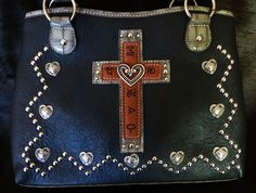 WESTERN BRANDS CROSS BRANDED HANDBAG PURSE BLACK FAUX LEATHER HEARTS STUDS NWT   $49! our prices are WAY BELOW RETAIL! all JEWELRY SHIPS FREE! www.baharanchwesternwear.com baha ranch western wear ebay seller id soloedition