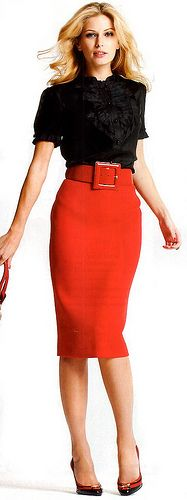 Red pencil skirt, lovely top, heels.