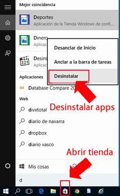 Abrir tienda / Desinstalar apps Windows 10
