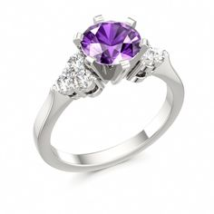 Amethyst Engagement Ring with Side Stones DIVINE CRYSTALS at www.colors-of-eden.com #purple