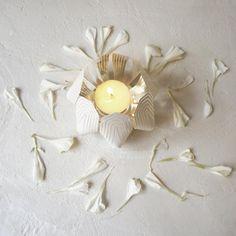 White Blossom tea light holder steel / be&liv
