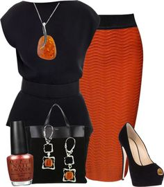 """Pencil Skirt"" by ljjenness on Polyvore. Love the black and burnt orange color combo."
