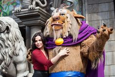 'Once Upon A Time' star Lana Parrilla poses with Beast in New Fantasyland at Magic Kingdom Park #Disney