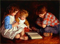Nostalgic artist and painter Jim Dalys Favorite Story, an original fine art oil painting of three children reading The Wizard of Oz. People Reading, Kids Reading, Reading Art, Reading Room, I Love Books, Good Books, Books To Read, Norman Rockwell, Book Lovers
