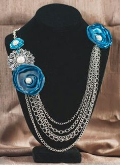 Blue and Silver Flower Broach Necklace