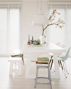Chic white dining room with picnic style table Decor, Interior, Home, Picnic Style Table, White Dining Room, House Interior, White Interior, Interior Design, Home And Living